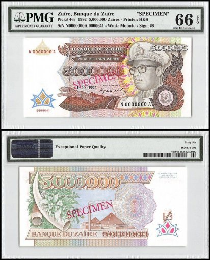 Zaire 5 Million Zaires, 1992, P-46s, Specimen, PMG 66