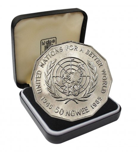 Zambia 50 Ngwee 11.6g Coin, 1985, KM # 24, 40th Anniversary of the United Nations