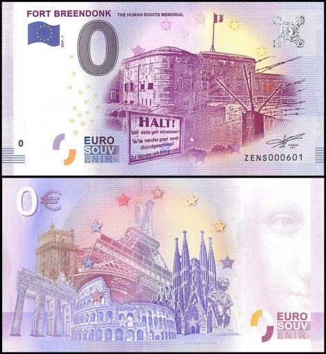Zero Euro Europe Banknote, 2017, 1st Print, UNC, Fort Breendonk The Human Rights
