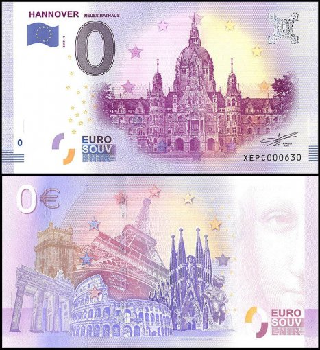 Zero Euro Europe Banknote, 2017, 1st Print, UNC, Hannover Neues Rathaus in German