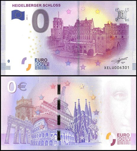 Zero Euro Europe Banknote, 2017, 1st Print, UNC, Hiedelberger Schloss in Germany