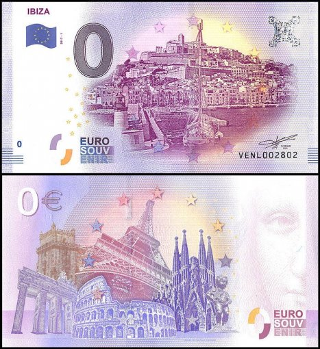 Zero Euro Europe Banknote, 2017, 1st Print, UNC, Ibiza in Spain