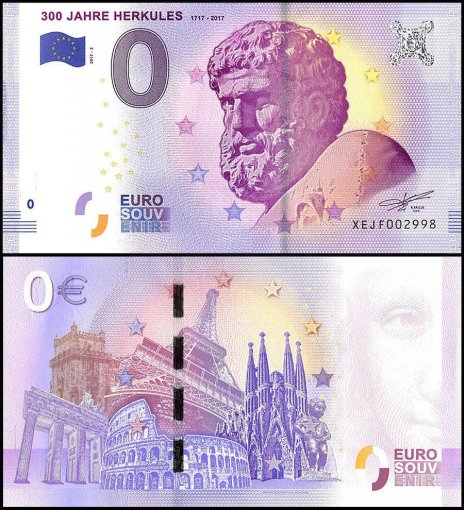 Zero Euro Europe Banknote, 2017, 2nd Print, UNC, 300 Jahre Herkules 1717-2017 in France