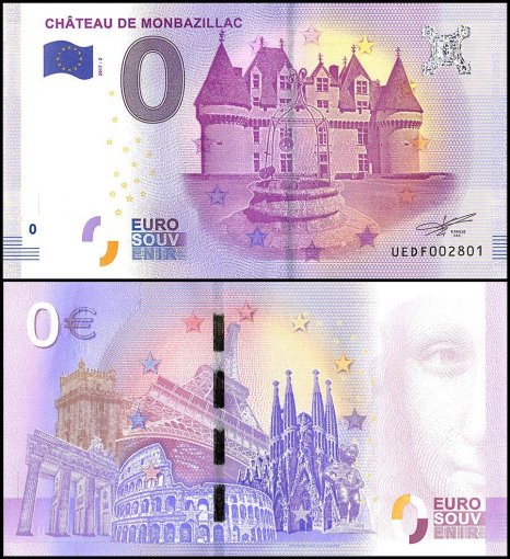 Zero Euro Europe Banknote, 2017, 2nd Print, UNC, Chateau De Monbazillac in France