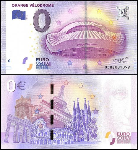 Zero Euro Europe Banknote, 2017, 2nd Print, UNC, Orange Velodrome in France