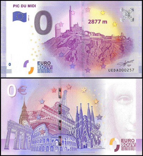 Zero Euro Europe Banknote, 2017, 2nd Print, UNC, Pic Du Midi 2877M in France