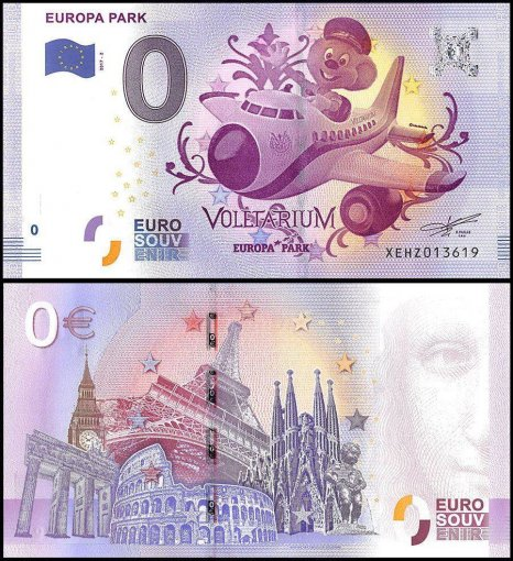 Zero Euro Europe Banknote, 2017, 2nd Print, UNC, Voletarium, Europa Park in Germany
