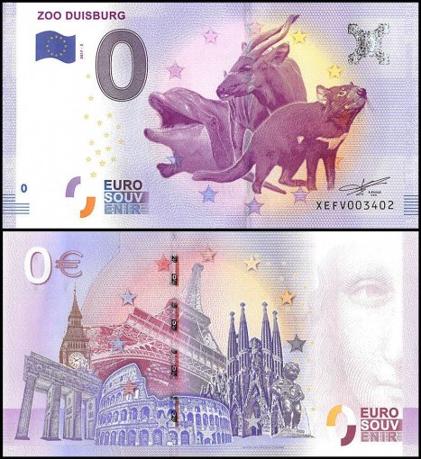 Zero Euro Europe Banknote, 2017, 3rd Print, UNC, Zoo Duisburg, Germany