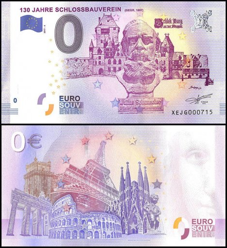 Zero Euro Europe Banknote, 2017, 6th Print, UNC,130 Jahre Sclossbauverein, Germany