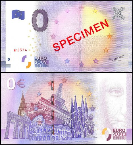 Zero Euro Europe Banknote, UNC, Specimen, Red Over Print