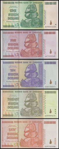 Zimbabwe 1 - 50 Billion Dollars 5 Piece Full Set, 2008, P-83-87, UNC