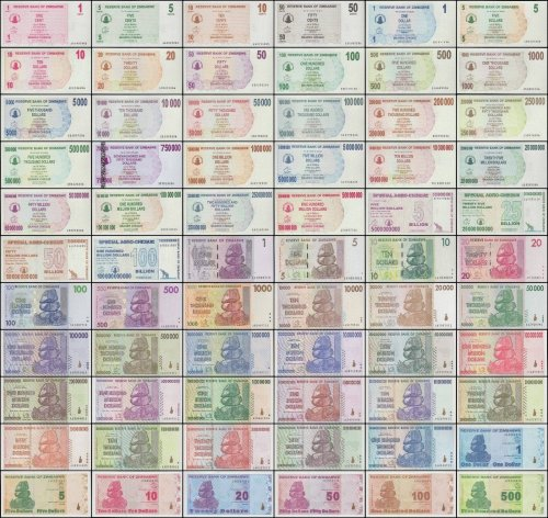 Zimbabwe 1 Cent- 100 Trillion Dollars 66 Piece Full Complete Set , 2006-2009, UNC
