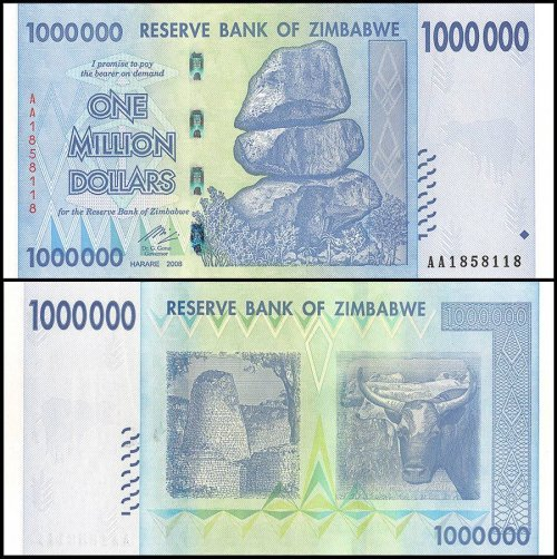 Zimbabwe 1 Million Dollars Banknote, 2008, P-77, UNC