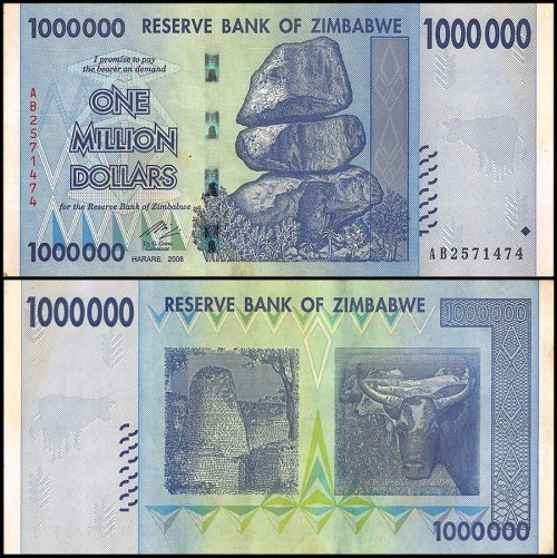 Zimbabwe 1 Million Dollars Banknote, 2008, P-77, Used