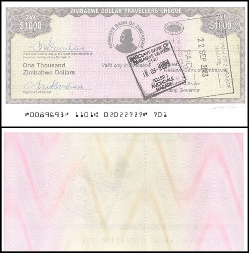 Zimbabwe 1,000 Dollars Travellers Cheque, 2003, P-15, Used