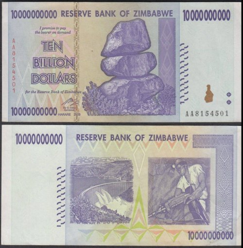 Zimbabwe 10 Billion Dollars Banknote, 2008, P-85, Used