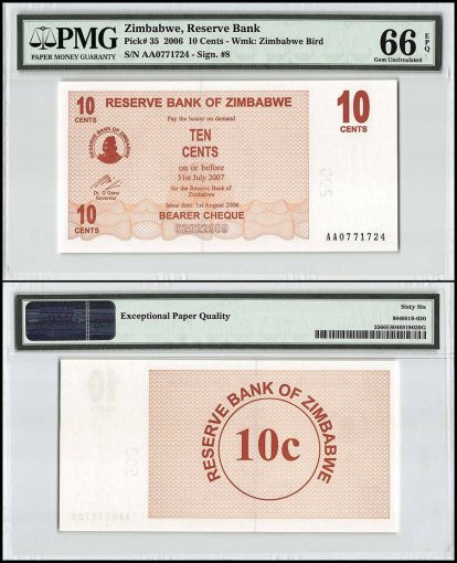 Zimbabwe 10 Cents Bearer Cheque, 2006, P-35, PMG 66