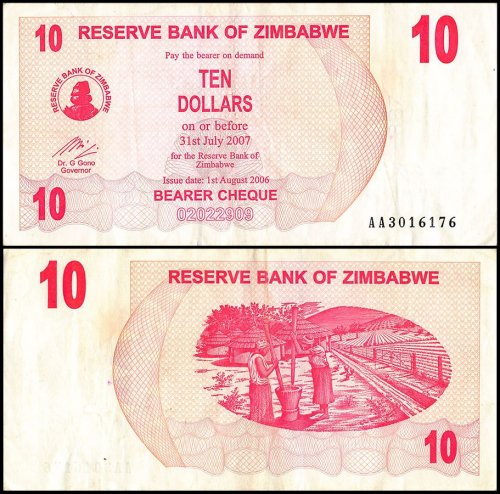 Zimbabwe 10 Dollars Bearer Cheque Banknote, 2006, P-39, USED
