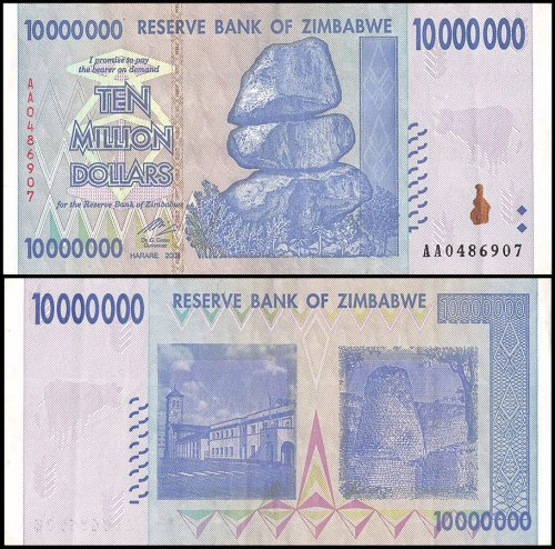Zimbabwe 10 Million Dollars Banknote, 2008, P-78, USED, 50 &100 Trillion Series