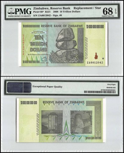 Zimbabwe 10 Trillion Dollars, 2008, P-88, Replacement/Star, PMG 68