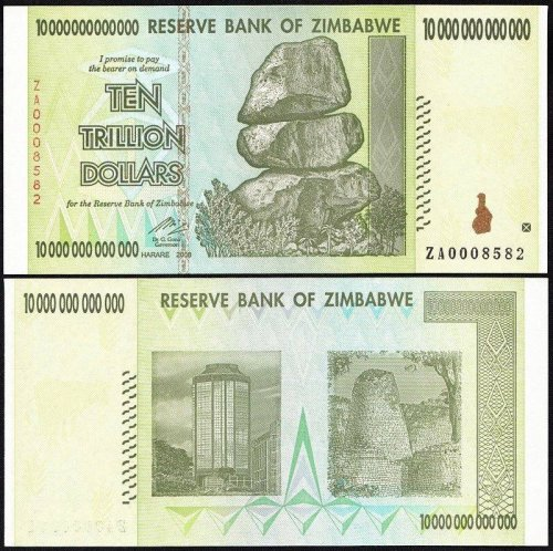 Zimbabwe 10 Trillion Dollars Banknote, 2008, P-88, UNC, Replacement