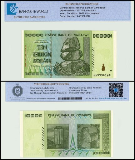 Zimbabwe 10 Trillion Dollars Banknote, 2008, P-88, UNC, TAP Authenticated