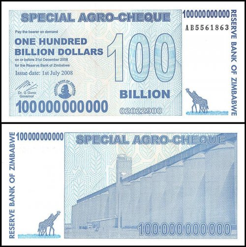 Zimbabwe 100 Billion Dollars Special Agro Cheque, 2008, P-64, UNC