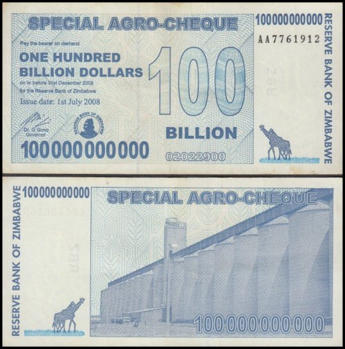 Zimbabwe 100 Billion Dollars Special Agro Cheque, Used