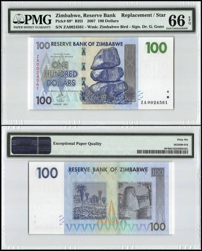 Zimbabwe 100 Dollars, 2007, P-69, Replacement/Star, PMG 66