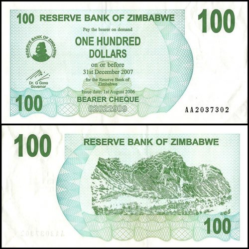 Zimbabwe 100 Dollars Banknote, 2007, P-69, Used, Radar Serial # 2037302