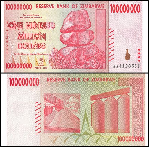 Zimbabwe 100 Million Dollars Banknote, 2008, P-80, 50 & 100 Trillion Series, UNC