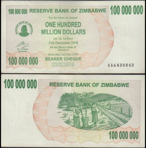 Zimbabwe 100 Million Dollars Bearer Cheque, 2008, P-58, Used