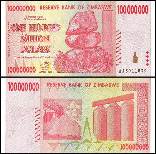 Zimbabwe 100 Million Dollars Banknote, 2008, P-80, Used
