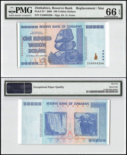Zimbabwe 100 Trillion Dollars, 2008, P-91, Replacement/Star, PMG 66