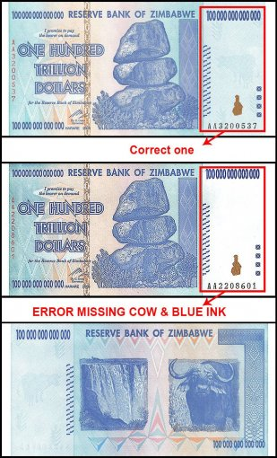 Zimbabwe 100 Trillion Dollars Banknote, 2008, P-91, UNC, Missing Cow & Blue Ink Error