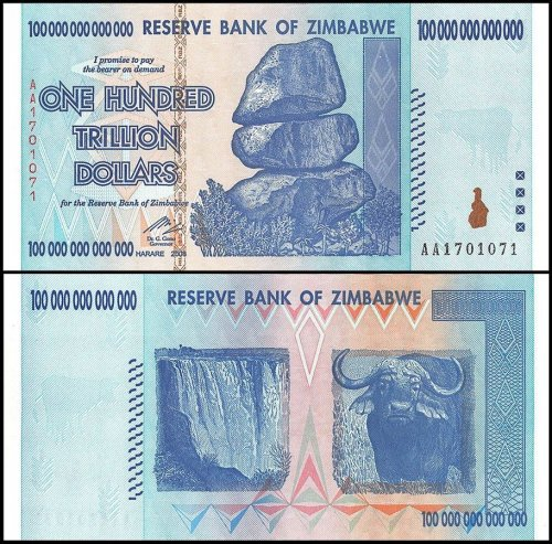 Zimbabwe 100 Trillion Dollars Banknote, 2008, P-91, UNC, Radar Serial # 1701071