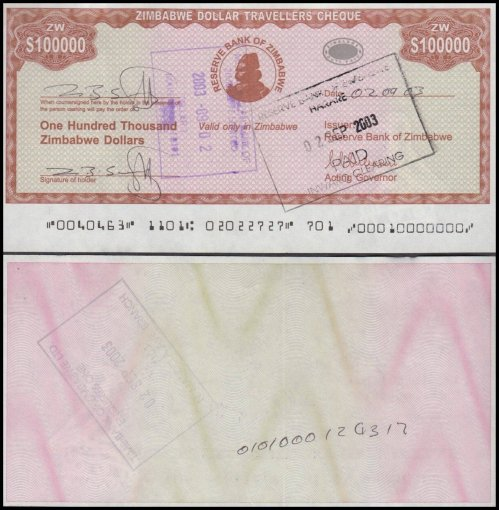 Zimbabwe 100,000 Dollars Travellers Cheque, 2003, P-20, Used