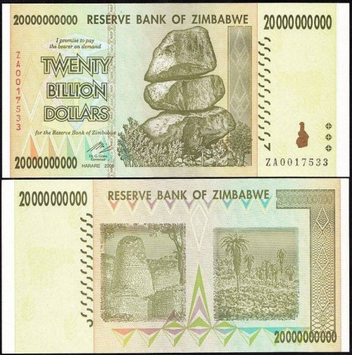 Zimbabwe 20 Billion Dollars Banknote, 2008, P-86, UNC, Replacement