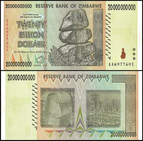 Zimbabwe 20 Billion Dollars Banknote, 2008, P-86, UNC