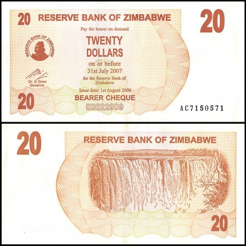 Zimbabwe 20 Dollars Bearer Cheque, 2006, P-40, Used