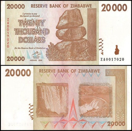 Zimbabwe 20,000 Dollars Banknote, 2008, P-73, Used, Replacement
