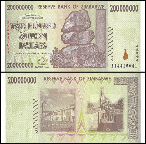 Zimbabwe 200 Million Dollars Banknote, 2008, P-81, UNC