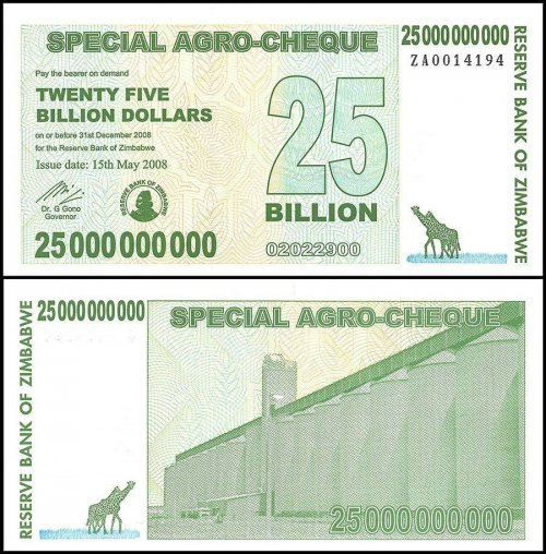 Zimbabwe 25 Billion Dollars Special Agro Cheque, 2008, P-62, UNC, Replacement