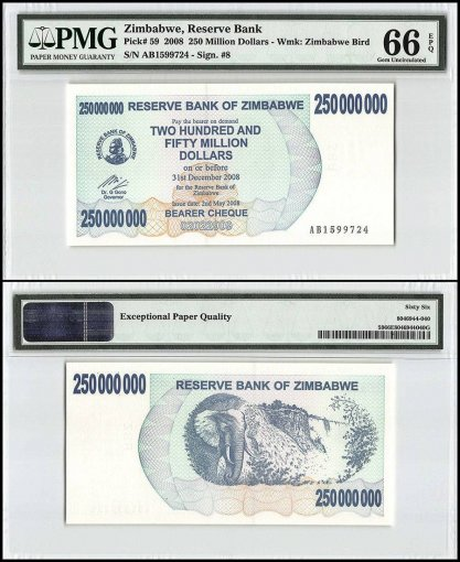 Zimbabwe 250 Million Dollars Bearer Cheque, 2008, P-59, PMG 66