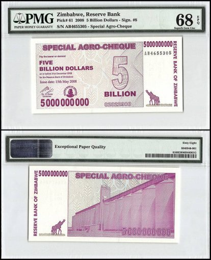 Zimbabwe 5 Billion Dollars Special Agro Cheque, 2008, P-61, PMG 68
