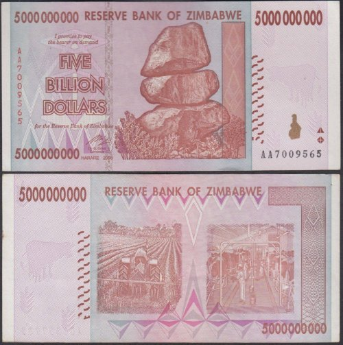 Zimbabwe 5 Billion Dollars Banknote, 2008, P-84, Used