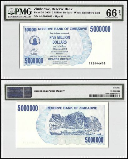 Zimbabwe 5 Million Dollars Bearer Cheque, 2008, P-54, PMG 66