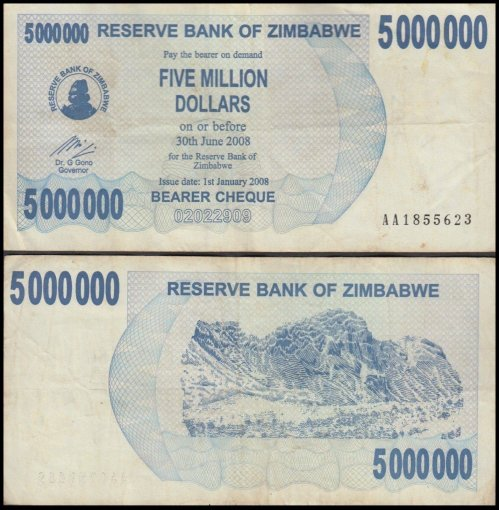 Zimbabwe 5 Million Dollars Banknote, 2008, P-54, Used