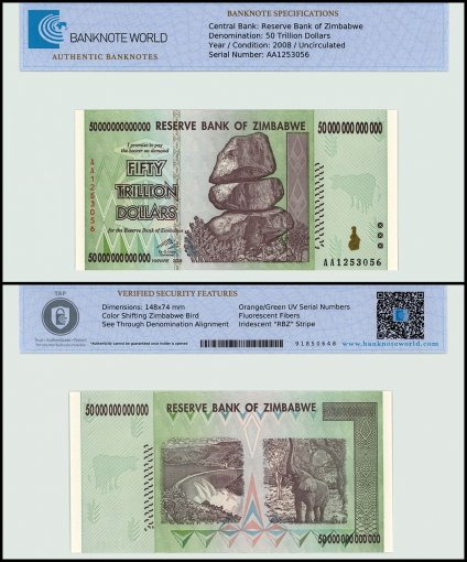 Zimbabwe 50 Trillion Dollars Banknote, 2008, P-90, UNC, TAP Authenticated