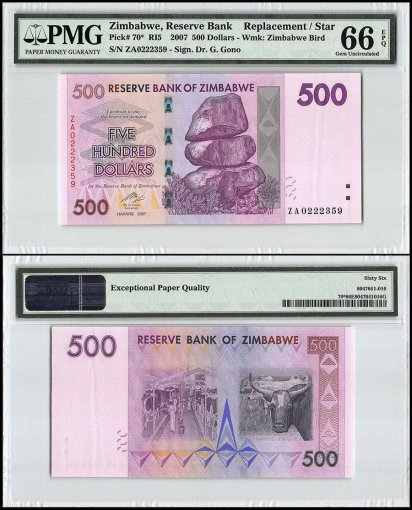 Zimbabwe 500 Dollars, 2007, P-70, Replacement/Star, PMG 66